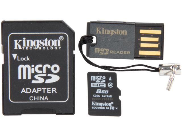 Kingston 8GB microSDHC Flash Card Bundle Kit (with a full-size SD adapter and USB reader) Model MBLY4G2/8GB