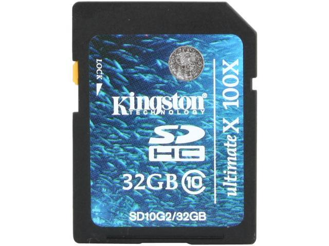 Kingston 32GB Secure Digital High-Capacity (SDHC) Flash Card Model SD10G2/32GB