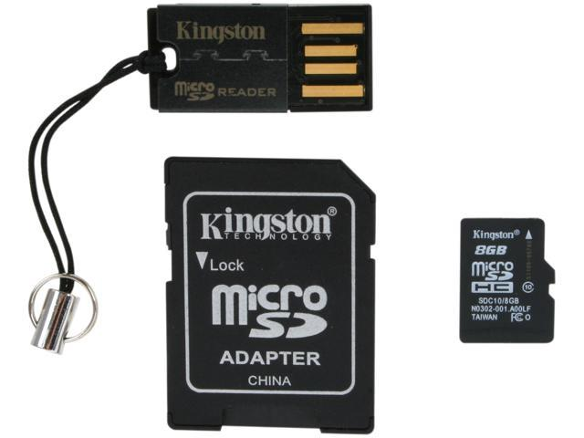 Kingston 8GB microSDHC Flash Card Multi-Kit/Mobility Kit Model MBLY10G2/8GB