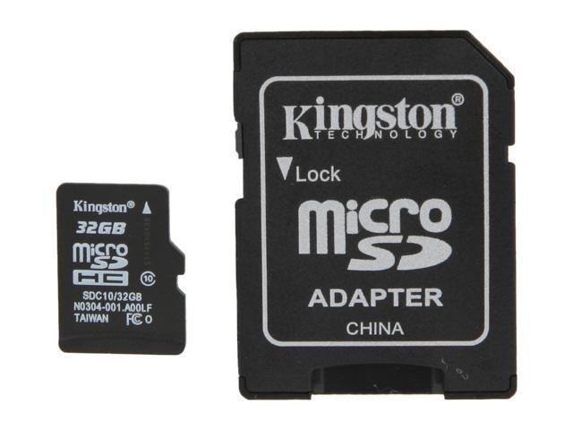 Kingston 32GB microSDHC Flash Card Model SDC10/32GB