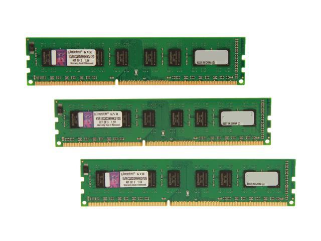 Kingston ValueRAM 12GB (3 x 4GB) 240-Pin DDR3 SDRAM DDR3 1333 Desktop Memory Model KVR1333D3N9HK3/12G