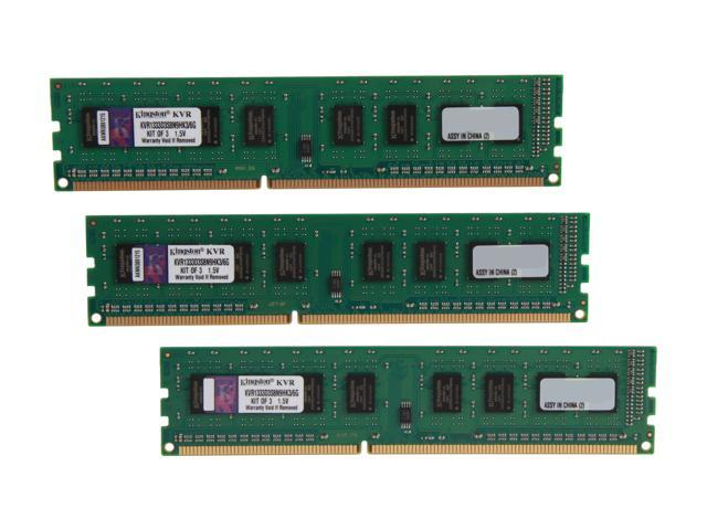 Kingston 6GB (3 x 2GB) 240-Pin DDR3 SDRAM DDR3 1333 Desktop Memory STD Height 30mm Model KVR1333D3S8N9HK3/6G