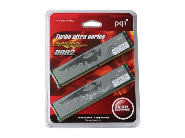 PQI TURBO 2GB (2 x 1GB) 240-Pin DDR2 SDRAM DDR2 800 (PC2 6400) Dual Channel Kit Desktop Memory Model PQI26400-2GDB