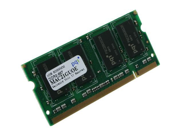 PQI 1GB 200-Pin DDR2 SO-DIMM DDR2 667 (PC2 5400) Laptop Memory Model MAC21GUOE