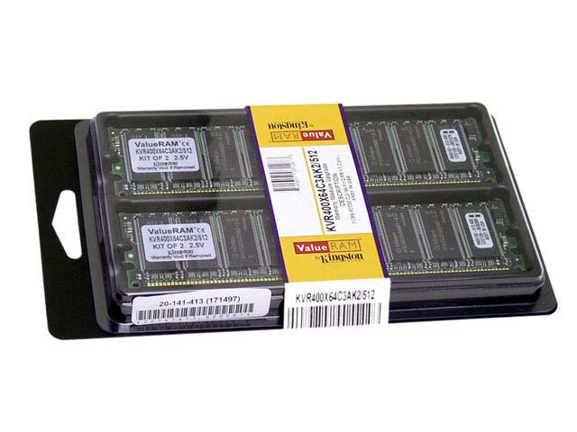 Kingston ValueRAM 512MB (2 x 256MB) 184-Pin DDR SDRAM DDR 400 (PC 3200) Dual Channel Kit System Memory Model KVR400X64C3AK2/512