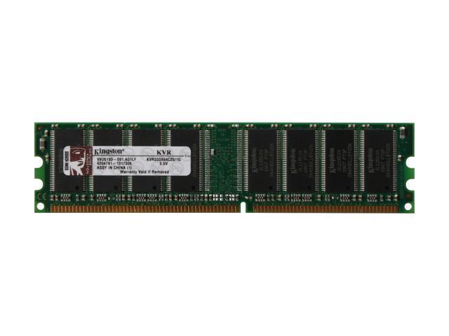 Kingston ValueRAM 1GB 184-Pin DDR SDRAM DDR 333 (PC 2700) System Memory Model KVR333X64C25/1G