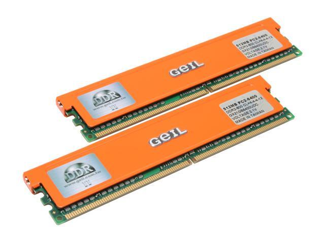 GeIL 1GB (2 x 512MB) 240-Pin DDR2 SDRAM DDR2 800 (PC2 6400) Dual Channel Kit Desktop Memory Model GX21GB6400UDC