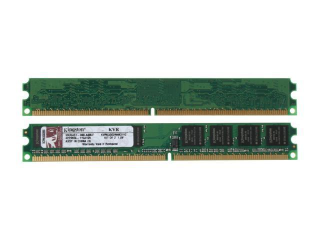 Kingston ValueRAM 1GB (2 x 512MB) 240-Pin DDR2 SDRAM DDR2 533 (PC2 4200) Dual Channel Kit Desktop Memory Model KVR533D2N4K2/1G