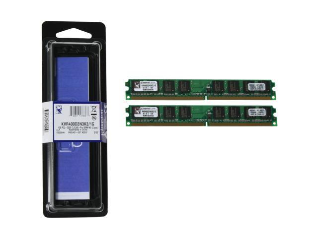 Kingston ValueRAM 1GB (2 x 512MB) 240-Pin DDR2 SDRAM DDR2 400 (PC2 3200) Dual Channel Kit System Memory Model KVR400D2N3K2/1G