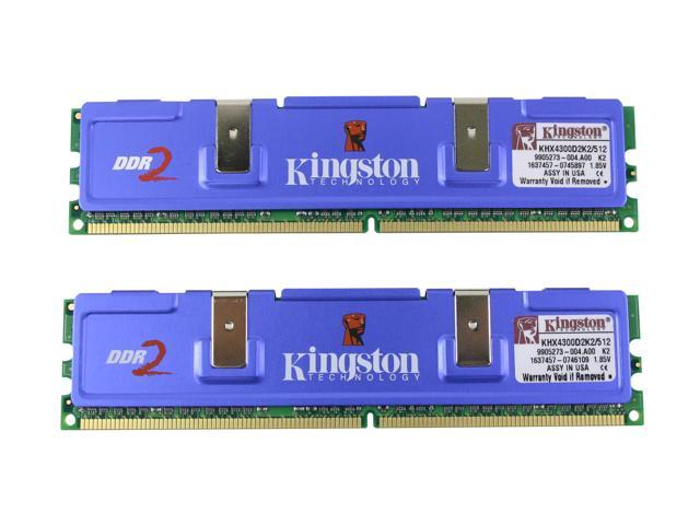 Kingston HyperX 512MB (2 x 256MB) 240-Pin DDR2 SDRAM DDR2 533 (PC2 4300) Dual Channel Kit Desktop Memory Model KHX4300D2K2/512