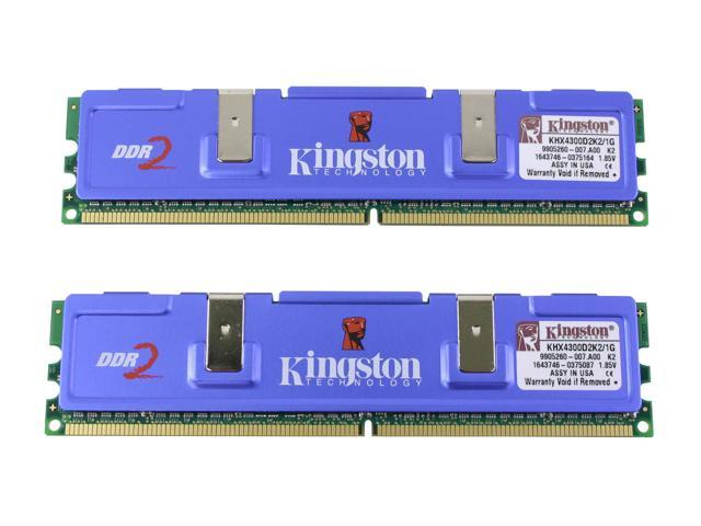 Kingston HyperX 1GB (2 x 512MB) 240-Pin DDR2 SDRAM DDR2 533 (PC2 4300) Dual Channel Kit Desktop Memory Model KHX4300D2K2/1G