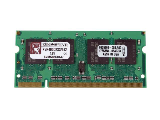 Kingston ValueRAM 512MB 200-Pin DDR2 SO-DIMM DDR2 400 (PC2 3200) Laptop Memory Model KVR400D2S3/512