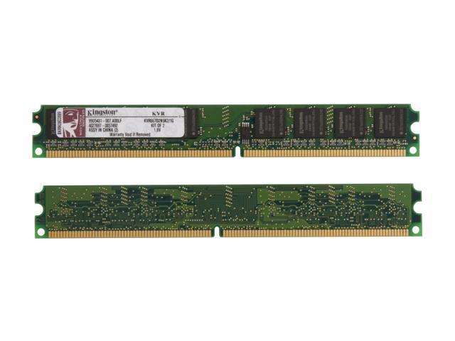 Kingston ValueRAM 1GB (2 x 512MB) 240-Pin DDR2 SDRAM DDR2 667 (PC2 5300) Dual Channel Kit System Memory Model KVR667D2N5K2/1G