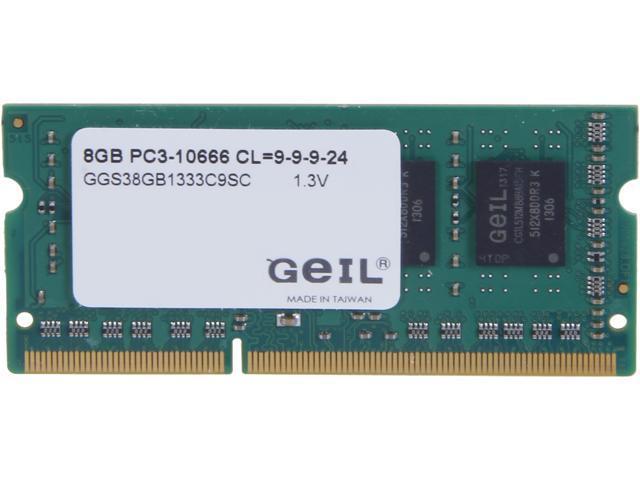 GeIL Green Series 8GB 204-Pin DDR3 SO-DIMM DDR3L 1600 (PC3L 12800) Laptop Memory Model GGS38GB1333C9SC