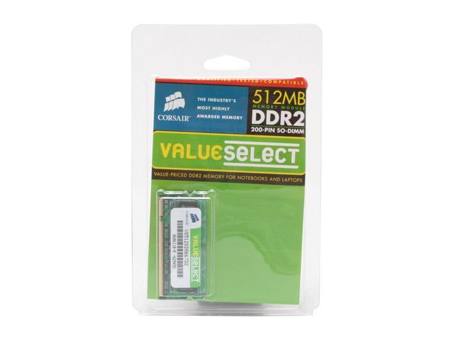 CORSAIR ValueSelect 512MB 200-Pin DDR2 SO-DIMM DDR2 667 (PC2 5300) Laptop Memory Model VS512SDS667D2
