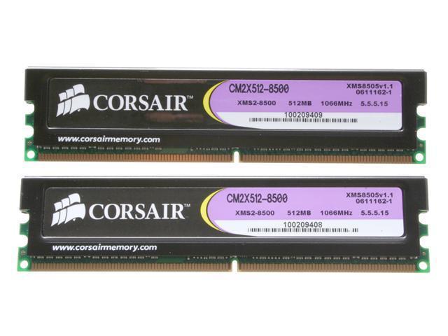 CORSAIR XMS2 1GB (2 x 512MB) 240-Pin DDR2 SDRAM DDR2 1066 (PC2 8500) Dual Channel Kit Desktop Memory Model TWIN2X1024-8500