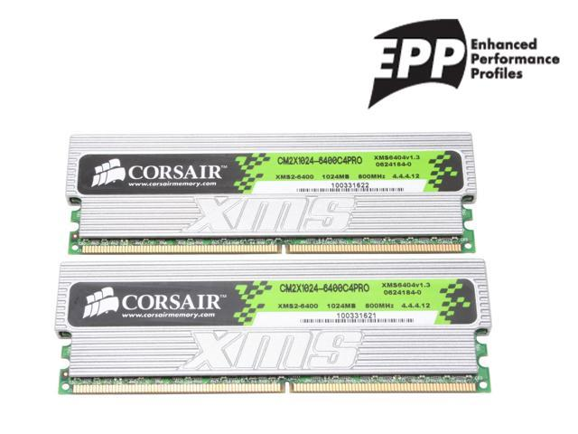CORSAIR XMS2 2GB (2 x 1GB) 240-Pin DDR2 SDRAM DDR2 800 (PC2 6400) Dual Channel Kit Desktop Memory Model TWIN2X2048-6400C4PRO