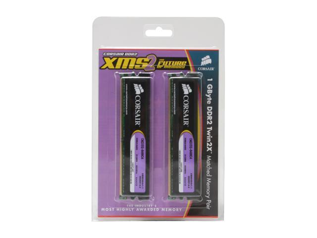 CORSAIR XMS2 1GB (2 x 512MB) 240-Pin DDR2 SDRAM DDR2 800 (PC2 6400) Dual Channel Kit Desktop Memory Model TWIN2X1024-6400C4
