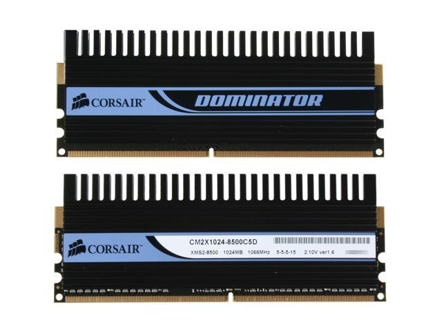 CORSAIR DOMINATOR 2GB (2 x 1GB) 240-Pin DDR2 SDRAM DDR2 1066 (PC2 8500) Dual Channel Kit Desktop Memory Model TWIN2X2048-8500C5D
