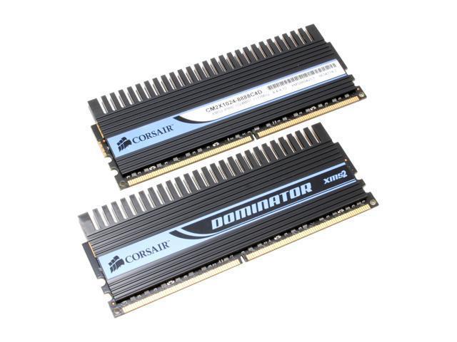 CORSAIR Dominator 2GB (2 x 1GB) 240-Pin DDR2 SDRAM DDR2 1111 (PC2 8888) Dual Channel Kit Desktop Memory Model TWIN2X2048-8888C4DF