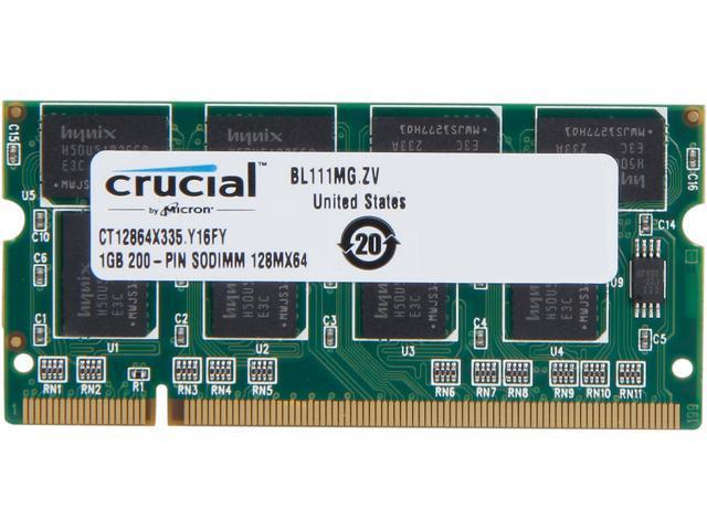 Crucial 1GB 200-Pin DDR SO-DIMM DDR 333 (PC 2700) Laptop Memory Model CT12864X335