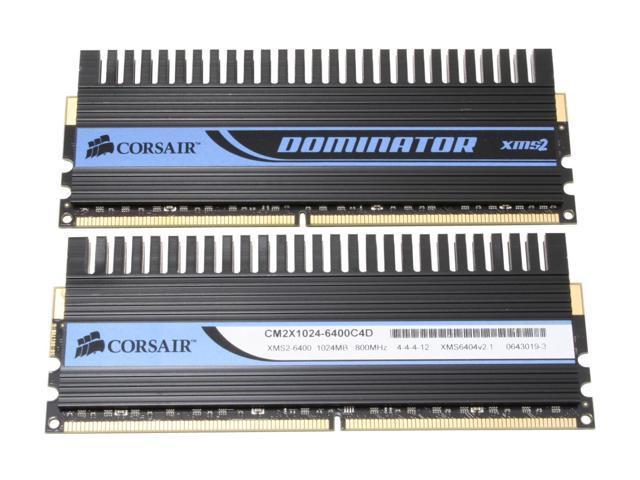 CORSAIR XMS2 DOMINATOR 2GB (2 x 1GB) 240-Pin DDR2 SDRAM DDR2 800 (PC2 6400) Dual Channel Kit Desktop Memory Model TWIN2X2048-6400C4D