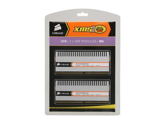 CORSAIR XMS2 2GB (2 x 1GB) 240-Pin DDR2 SDRAM DDR2 800 (PC2 6400) Dual Channel Kit Desktop Memory Model TWIN2X2048-6400C5DHX