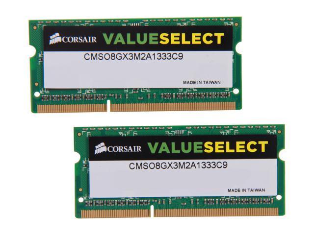CORSAIR ValueSelect 8GB (2 x 4GB) 204-Pin DDR3 SO-DIMM DDR3 1333 (PC3 10600) Laptop Memory Model CMSO8GX3M2A1333C9