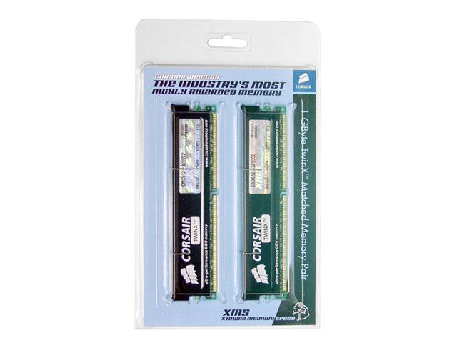 CORSAIR XMS 1GB (2 x 512MB) 184-Pin DDR SDRAM DDR 400 (PC 3200) Dual Channel Kit Desktop Memory Model TWINX1024-3200C2
