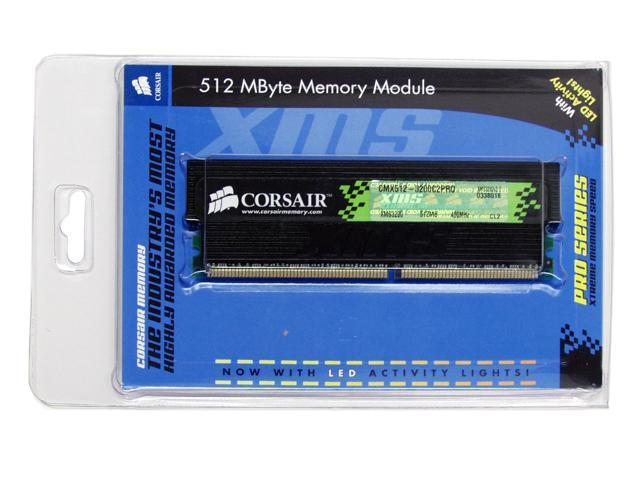 CORSAIR XMS 512MB 184-Pin DDR SDRAM DDR 400 (PC 3200) Desktop Memory Model CMX512-3200C2PRO