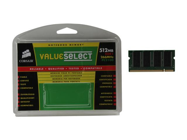 CORSAIR 512MB 200-Pin DDR SO-DIMM DDR 266 (PC 2100) Laptop Memory Model VS512SDS266