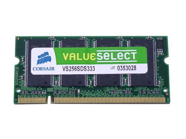CORSAIR ValueSelect 256MB 200-Pin DDR SO-DIMM DDR 333 (PC 2700) Laptop Memory Model VS256SDS333