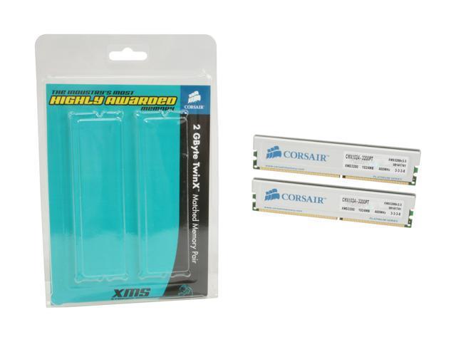 CORSAIR XMS 2GB (2 x 1GB) 184-Pin DDR SDRAM DDR 400 (PC 3200) Dual Channel Kit Desktop Memory Model TWINX2048-3200PT