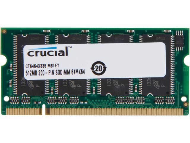 Crucial 512MB 200-Pin DDR SO-DIMM DDR 333 (PC 2700) Laptop Memory Model CT6464X335 - OEM