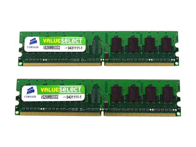 CORSAIR ValueSelect 512MB (2 x 256MB) 240-Pin DDR2 SDRAM DDR2 533 (PC2 4200) Dual Channel Kit Desktop Memory Model VS512MBKIT533D2