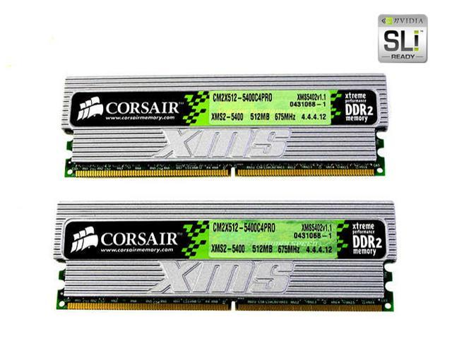 CORSAIR XMS2 1GB (2 x 512MB) 240-Pin DDR2 SDRAM DDR2 675 (PC2 5400) Dual Channel Kit Desktop Memory Model TWIN2X1024-5400C4PRO