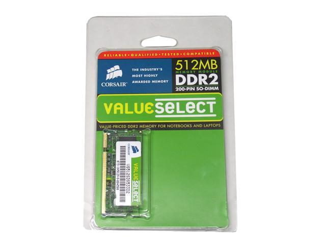 CORSAIR ValueSelect 512MB 200-Pin DDR2 SO-DIMM DDR2 533 (PC2 4200) Laptop Memory Model VS512SDS533D2