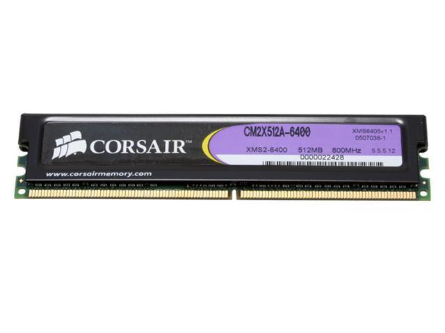 CORSAIR XMS2 512MB 240-Pin DDR2 SDRAM DDR2 800 (PC2 6400) Desktop Memory Model CM2X512A-6400