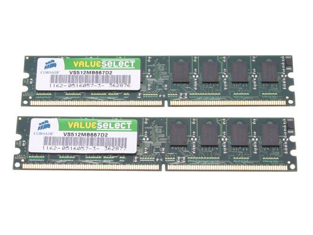 CORSAIR ValueSelect 1GB (2 x 512MB) 240-Pin DDR2 SDRAM DDR2 667 (PC2 5300) Desktop Memory Model VS1GBKIT667D2