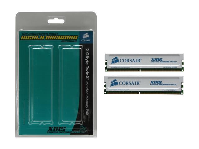 CORSAIR XMS 2GB (2 x 1GB) 184-Pin DDR SDRAM DDR 400 (PC 3200) Dual Channel Kit Desktop Memory Model TWINX2048-3200C2PT