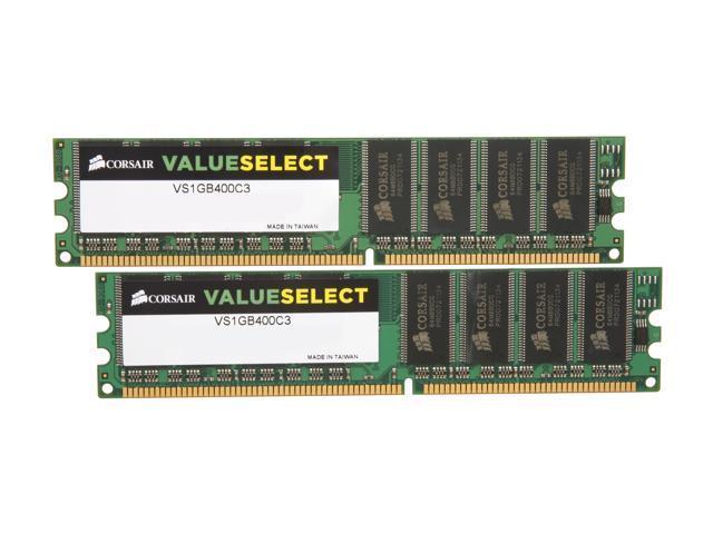 CORSAIR ValueSelect 2GB (2 x 1GB) 184-Pin DDR SDRAM DDR 400 (PC 3200) Dual Channel Kit Desktop Memory Model VS2GBKIT400C3