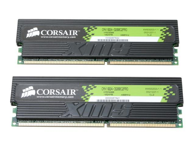 CORSAIR XMS 2GB (2 x 1GB) 184-Pin DDR SDRAM DDR 400 (PC 3200) Dual Channel Kit Desktop Memory Model TWINX2048-3200C2PRO