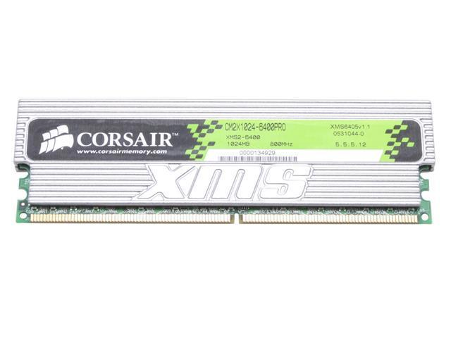 CORSAIR XMS2 1GB 240-Pin DDR2 SDRAM DDR2 800 (PC2 6400) Desktop Memory Model CM2X1024-6400PRO