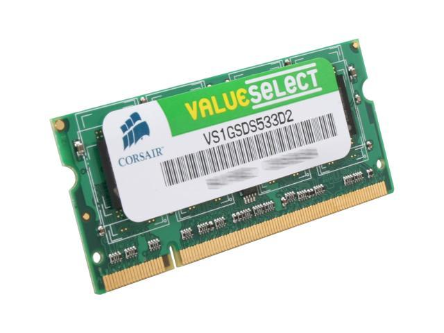 CORSAIR 1GB 200-Pin DDR2 SO-DIMM DDR2 533 (PC2 4200) Laptop Memory Model VS1GSDS533D2