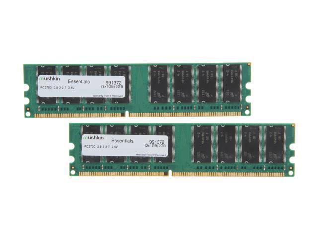 Mushkin Enhanced Green 2GB (2 x 1GB) 184-Pin DDR SDRAM DDR 333 (PC 2700) Dual Channel Kit System Memory Model 991372