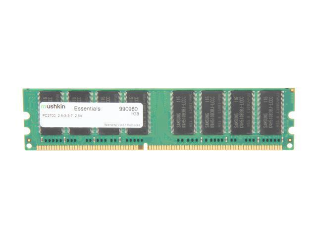 Mushkin Enhanced Essentials 1GB 184-Pin DDR SDRAM DDR 333 (PC 2700) Desktop Memory Model 990980