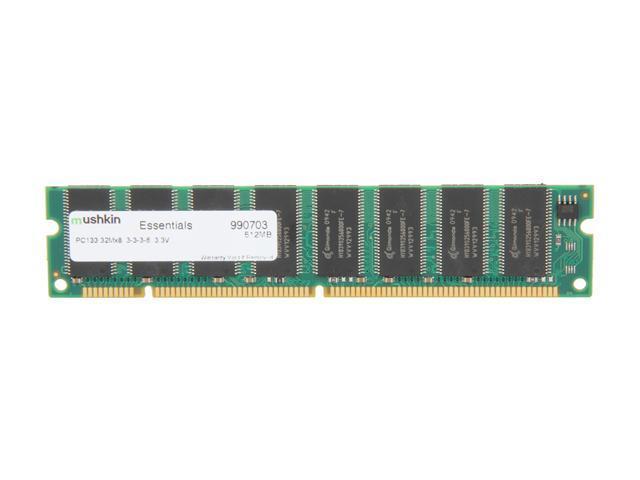 Mushkin Enhanced Essentials 512MB 168-Pin SDRAM PC 133 Desktop Memory Model 990703