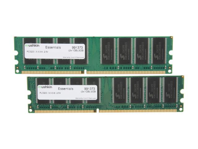 Mushkin Enhanced Essentials 2GB (2 x 1GB) 184-Pin DDR SDRAM DDR 400 (PC 3200) Dual Channel Kit Desktop Memory Model 991373
