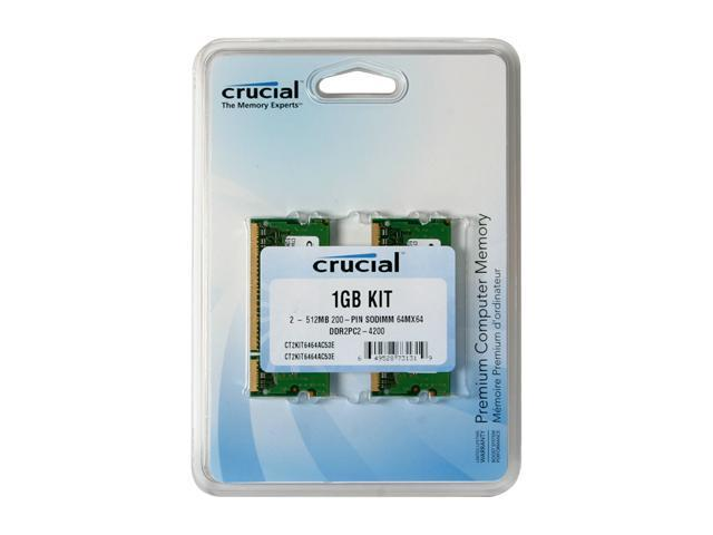Crucial 1GB (2 x 512MB) 200-Pin DDR2 SO-DIMM DDR2 533 (PC2 4200) Dual Channel Kit Laptop Memory Model CT2KIT6464AC53E