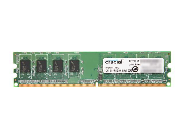 Crucial 512MB 240-Pin DDR2 SDRAM DDR2 667 (PC2 5300) Desktop Memory Model CT6464AA667